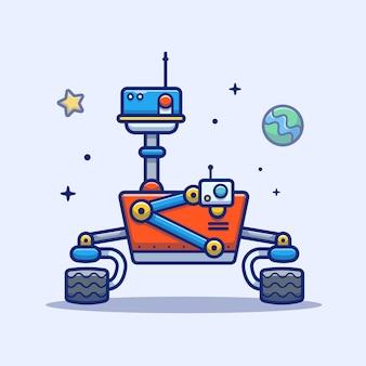 Ikona robota kosmicznego. astronautyczny robot, planeta i gwiazdy, astronautyczny ikona biel odizolowywający