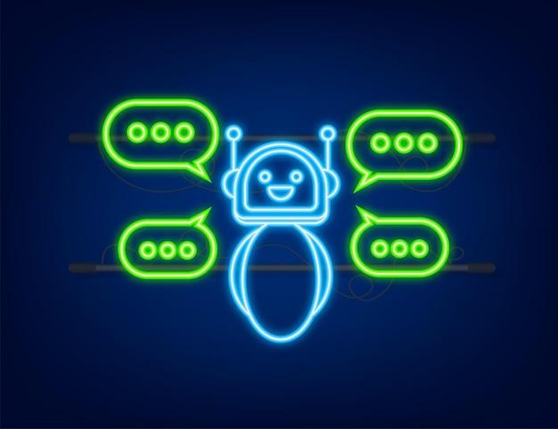 Ikona robota projekt znaku bota ikona neonowa koncepcja symbolu chatbota bot usługi wsparcia głosowego