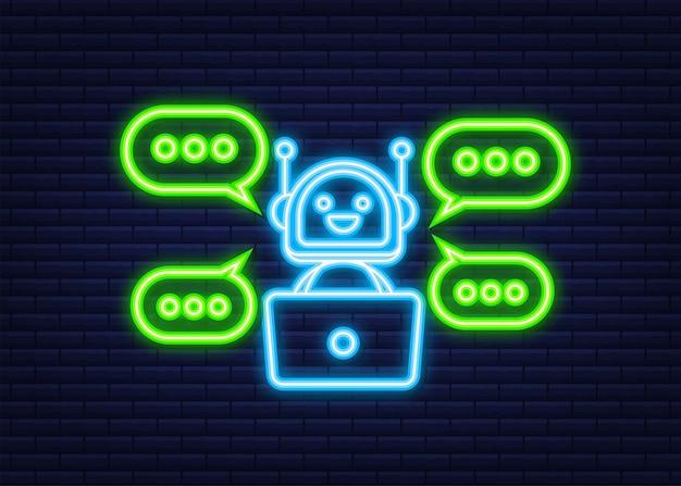 Ikona robota. projekt znaku bota. koncepcja symbol chatbota. bot obsługi głosowej. neonowa ikona. bot wsparcia online. ilustracja wektorowa.