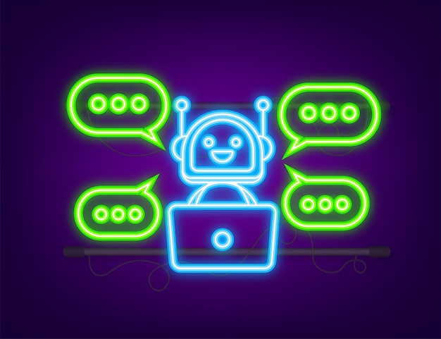Ikona robota projekt znaku bota koncepcja symbolu chatbota ikona bota usługi wsparcia głosowego neon