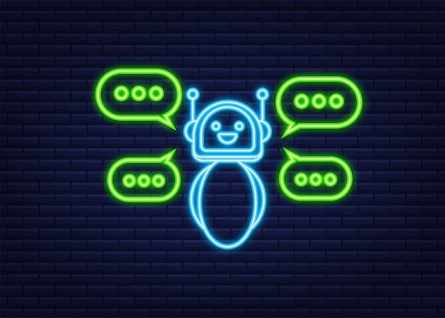 Ikona robota. projekt znaku bota. neonowa ikona. koncepcja symbol chatbota. bot obsługi głosowej. bot wsparcia online. ilustracja wektorowa.