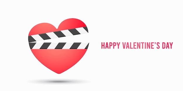 Ikona romantyczny film z klapą serca na białym tle. ilustracja walentynki