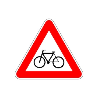 Ikona roweru na trójkącie czerwono-biały znak drogowy na białym tle