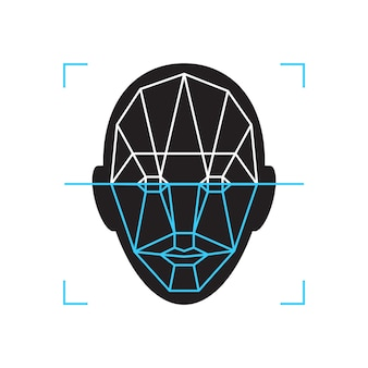 Ikona rozpoznawania. znak weryfikacji biometrycznej tożsamości twarzy. technologia uwierzytelniania telefon komórkowy, smartfon, inne urządzenia.