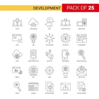 Ikona rozwoju black line - 25 zestaw ikon kontur firmy