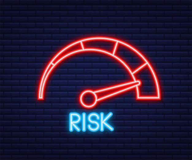 Ikona ryzyka na prędkościomierzu. miernik wysokiego ryzyka. neonowa ikona. ilustracja wektorowa.