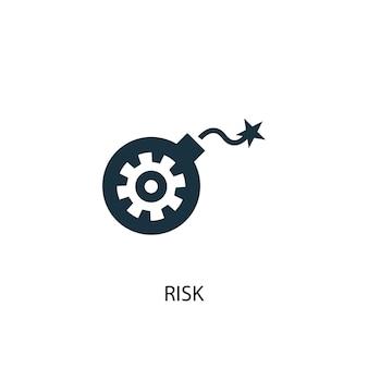 Ikona ryzyka. prosta ilustracja elementu. projekt symbolu koncepcji ryzyka. może być używany w sieci i na urządzeniach mobilnych.