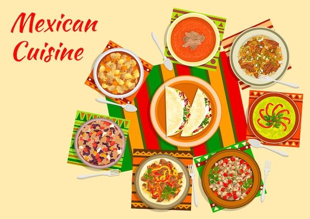 Ikona Sałatki Meksykańskiej Taco Serwowana Na środku Stołu Z Zupą Pomidorową Premium Wektorów