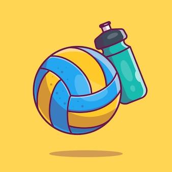 Ikona salwy. siatkówka piłka i butelka wody, ikona sportu na białym tle