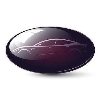 Ikona samochodu błyszczący owalny przycisk