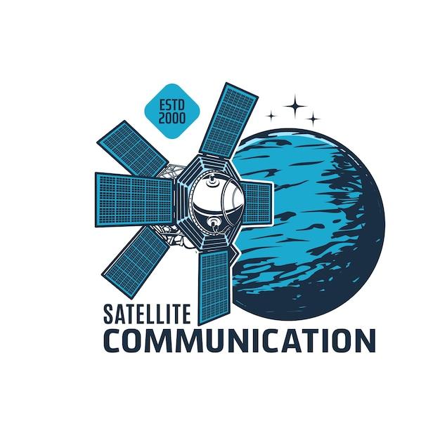 Ikona satelity telekomunikacyjnego, stacja kosmiczna