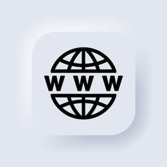 Ikona sieci web. wektor. ikona www. przejdź do symbolu sieci. strony lub internet płaskie wektorowe ikony dla aplikacji i stron internetowych. biały przycisk sieciowy interfejsu użytkownika neumorphic ui ux. neumorfizm.