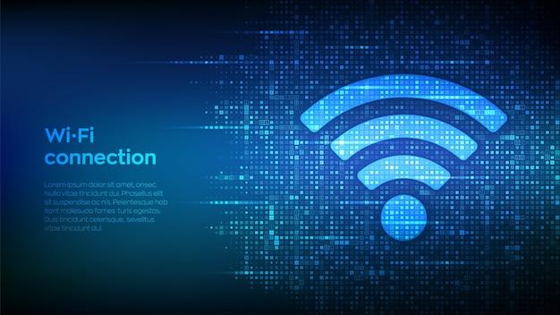 Ikona sieci wi-fi. znak wi-fi wykonany za pomocą kodu binarnego. dostęp do sieci wlan, symbol sygnału bezprzewodowego punktu dostępu.