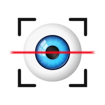 Ikona skanowania oczu na białym tle