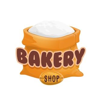 Ikona sklepu piekarniczego, worek mąki i ziarno pszenicy