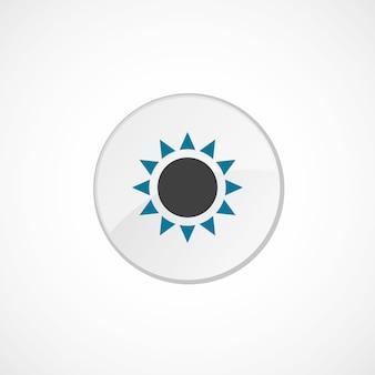 Ikona słońca 2 kolorowa, szara i niebieska, okrągła plakietka