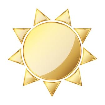 Ikona słońca. złota ilustracja. złota ikona słońca na białym tle. złoty symbol słońca
