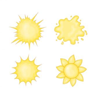 Ikona słońce w ślicznym kreskówka stylu. ilustracja wektorowa na białym tle
