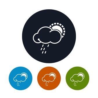 Ikona słońce z deszczem, cztery rodzaje kolorowych okrągłych ikon w chmurze ze słońcem i deszczem, symbol pogody, ilustracji wektorowych