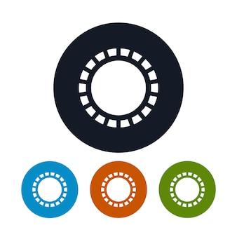 Ikona słońce z promieniami, cztery rodzaje kolorowych okrągłych ikon słońca, ilustracji wektorowych
