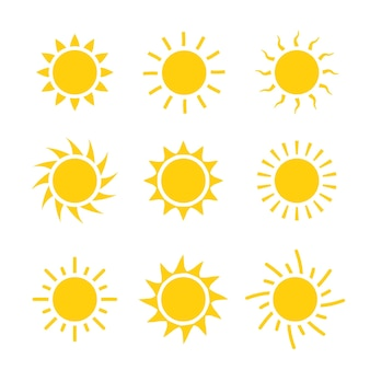 Ikona słońce zestaw ilustracji wektorowych. projekt kolekcji słońce lato żółty znak.