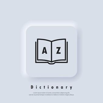 Ikona słownika. słowniczek. odznaka z książką. logo słownika. ikona biblioteki. wektor eps 10. ikona interfejsu użytkownika. biały przycisk sieciowy interfejsu użytkownika neumorphic ui ux. neumorfizm