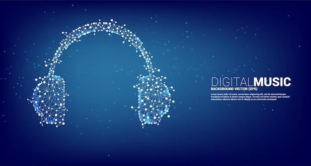 Ikona słuchawek z wielokątem linii z kropką. koncepcja muzyki cyfrowej i strumieniowej.