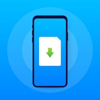 Ikona smartfona i pobierz plik. koncepcja pobierania dokumentu