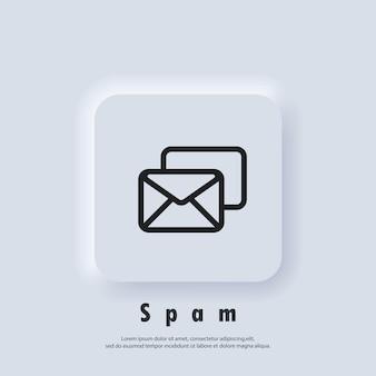 Ikona spamu. logo biuletynu. koperta. ikony poczty e-mail i wiadomości. e-mailowa kampania marketingowa. wektor eps 10. ikona interfejsu użytkownika. biały przycisk sieciowy interfejsu użytkownika neumorphic ui ux. neumorfizm