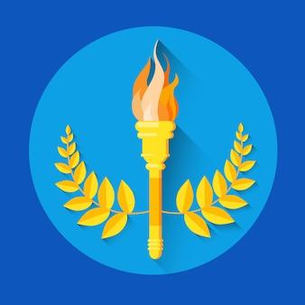 Ikona sportu pochodnia złoty wieniec ognia