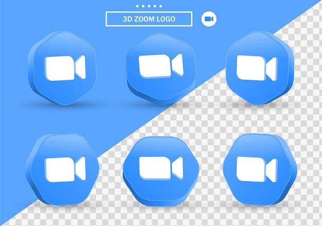 Ikona spotkania zoom 3d w nowoczesnym stylu ramki i wielokąta dla logo ikon mediów społecznościowych