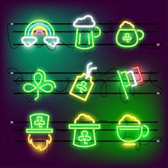 Ikona st partricks day ustawia neon.
