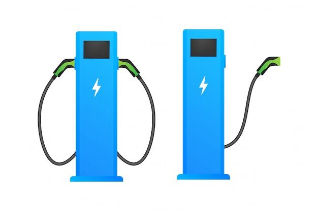Ikona stacji ładowania pojazdów elektrycznych. płaski ładunek elektryczny. samochód elektryczny. ilustracji.