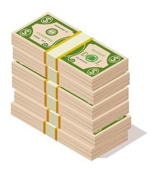 Ikona stosy dolara. wiązka papierowych pieniędzy. wielka kupa gotówki. ilustracja wektorowa.