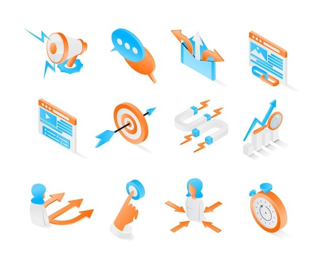 Ikona strategii marketingowej z pakietem w stylu izometrycznym lub zestawami nowoczesnych wektorów premium
