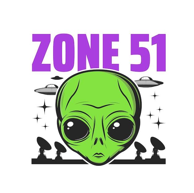 Ikona strefy 51, aktywność obcych i teoria spiskowa ufo, znak wektora humanoidalnego. amerykański emblemat ściśle tajnej strefy 51 przedstawiający eksperymenty kosmitów, uprowadzenie przez marsa i symbol obszaru aktywności paranormalnej