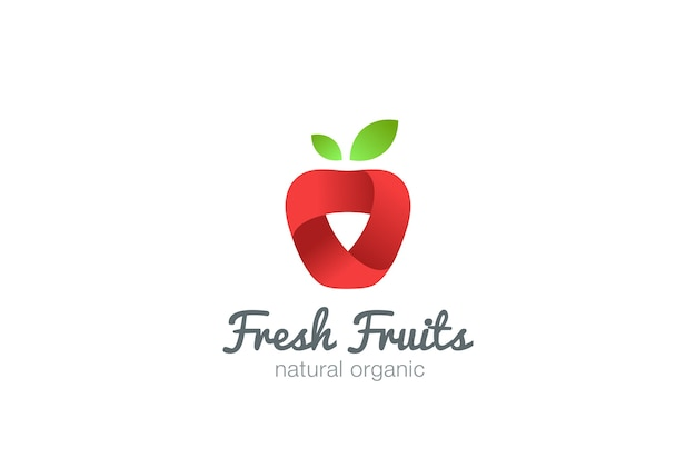 Ikona streszczenie wstążka logo apple. świeże owoce, pomysł, sok, napój ikona koncepcja logo.