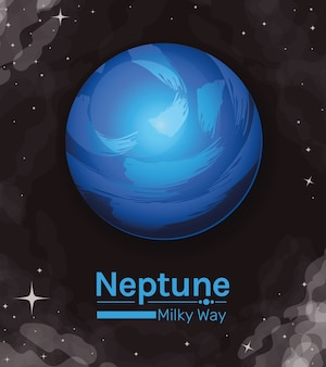 Ikona stylu droga mleczna planety neptun kosmos futurystyczny i kosmos