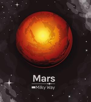 Ikona stylu drogi mlecznej planety mars kosmicznej futurystycznej i kosmicznej