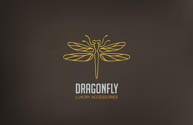 Ikona stylu liniowego logo dragonfly.
