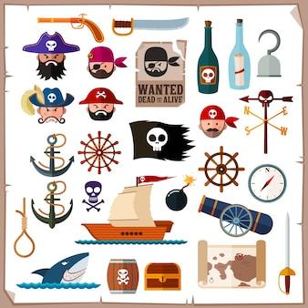 Ikona stylu płaski kolekcja piratów