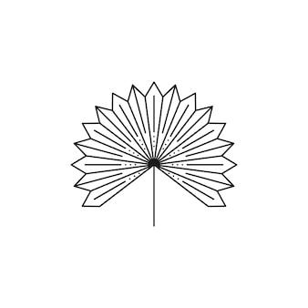 Ikona suszonych liści palmowych w modnym, minimalistycznym stylu liniowej. godło boho tropikalny liść wektor. ilustracja kwiatowa do tworzenia logo, wzorów, nadruków na koszulkach, projektów tatuaży, postów w mediach społecznościowych i historii