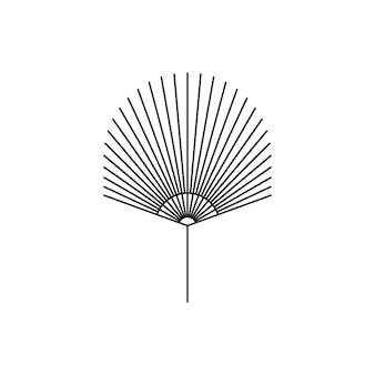 Ikona suszonych liści palmowych w modnym, minimalistycznym stylu liniowej. godło boho tropikalny liść wektor. ilustracja kwiatowa do tworzenia logo, wzoru, nadruków na koszulkach i ścianach, tatuażu, postów w mediach społecznościowych i historii
