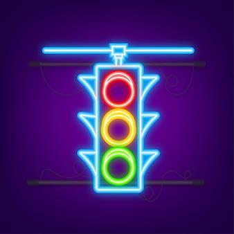 Ikona sygnalizacji świetlnej. znak dla pieszych. neonowy styl. ilustracja wektorowa.