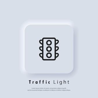 Ikona sygnalizacji świetlnej. znak sygnalizacji świetlnej. wektor eps 10. ikona interfejsu użytkownika. biały przycisk sieciowy interfejsu użytkownika neumorphic ui ux. neumorfizm