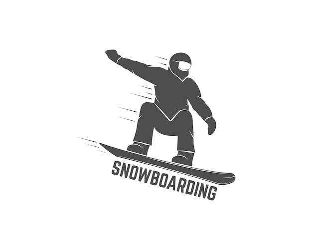 Ikona sylwetka na snowboardzie