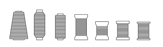 Ikona sylwetki szpuli i szpulki zestaw ilustracji wektorowych czarna sylwetka szpulki z igłą konturową