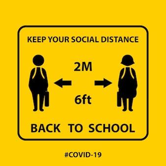 Ikona symbolu z powrotem do szkoły. zachowaj dystans od innych ludzi w miejscach publicznych. środki zapobiegawcze pandemii koronawirusa. covid-19 powrót do szkoły ilustracja wektorowa. koncepcja medyczna i zdrowotna
