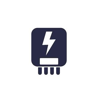 Ikona systemu sterowania energią elektryczną na białym tle