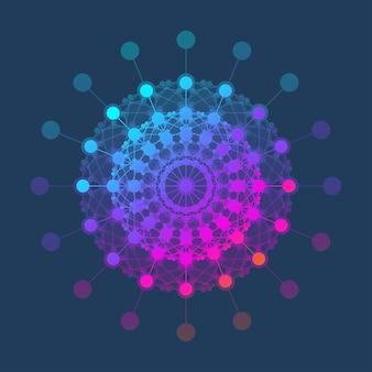 Ikona szablonu logo cząsteczki, logotyp nauka genetyka, helisa dna. analiza genetyczna, badania kodu biotechnologicznego dna, molekuły. chromosom genomu biotechnologii. ilustracja wektorowa
